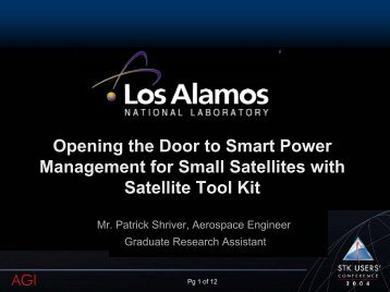 Smart Power Management for Small Sats - AGI