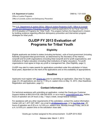 OJJDP FY 2013 Evaluation of Programs for Tribal Youth - Office of ...