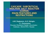 CASCADE SUBCRITICAL MOLTEN SALT REACTOR (CSMSR ...