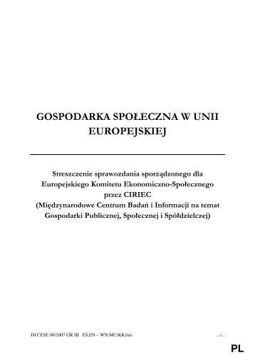 gospodarka społeczna w unii europejskiej - Ekonomiaspoleczna.pl