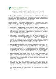 West Coast Marine Reserves Public Notice - Department of ...