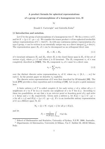 A product formula for spherical representations of a group of ...