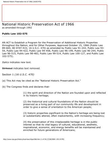 National Historic Preservation Act Of 1966 16USC470pdf