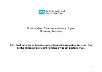 Restructuring of Administrative Support in Adoption Services