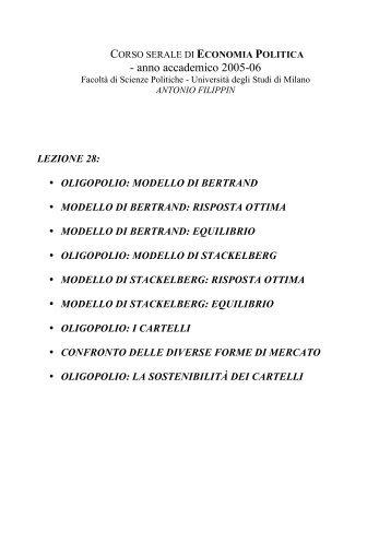 lezione28 - Università degli Studi di Milano