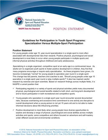 Guidelines for Participation in Youth Sport Programs ... - AAHPERD