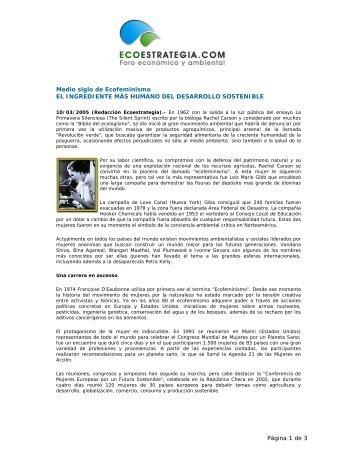 Medio siglo de Ecofeminismo - Ecoestrategia