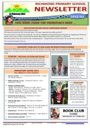 Issue 02 – Newsletter 14th February 2013 - Richmond Primary School