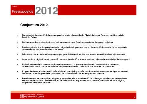 Dossier Pressupostos 2012 - Premsa - Generalitat de Catalunya