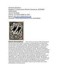 Student Syllabus English II- Sophomore World Literature, HONORS ...