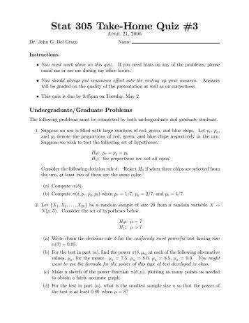 Stat 305 Take!Home Quiz #3