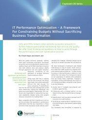 IT Performance Optimization – A Framework For ... - Cognizant