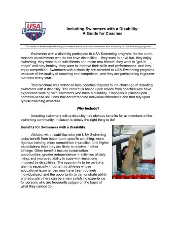 Including Swimmers with a Disability: A Guide for Coaches