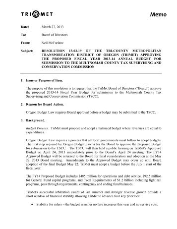 Resolution 13-03-19 Approving the Proposed Fiscal Year ... - TriMet