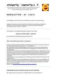 E+E Newsletter 01/2012 - Einzigartig-eigenartig e.V.