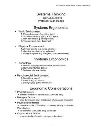 Systems Thinking - Cornell University Ergonomics Web