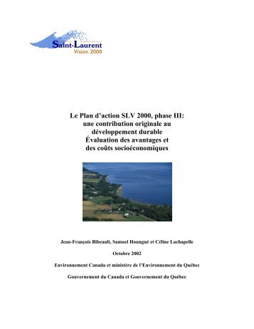 Le Plan d'action SLV 2000, phase III: une contribution ... - UQAC