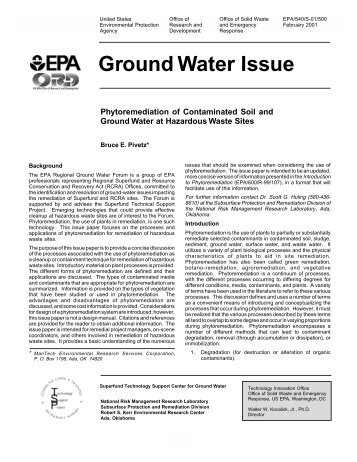 Ground Water Issue - Plant Tissue Culture Research at the Univ. of ...