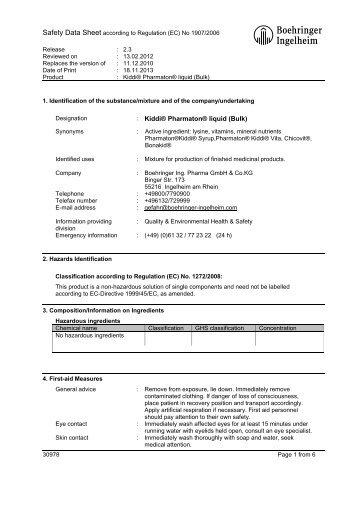 Abcd - Material Safety Datasheets - Boehringer Ingelheim
