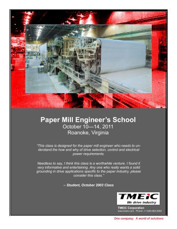 Paper Mill Engineer's School - Tmeic.com