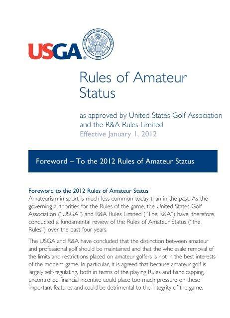 Complete 2012 2015 Rules Of Amateur Status Usga