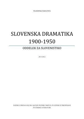 SLOVENSKA DRAMATIKA 1900-1950 - Student Info