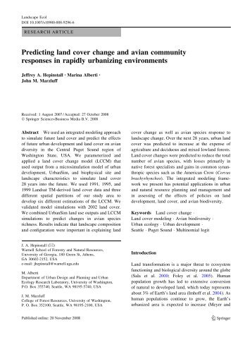 Predicting land cover change and avian community responses in ...