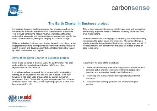 The Earth Charter in Business project - Earth Charter Initiative