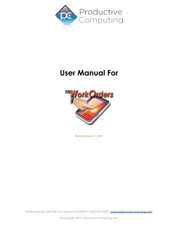User Manual For - Productive Computing