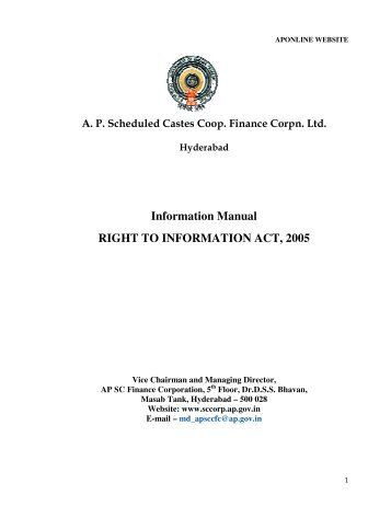 Information Manual RIGHT TO INFORMATION ACT, 2005 - AP Online