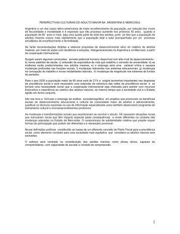 perspectivas culturais do adulto maior em o argentino e mercosur