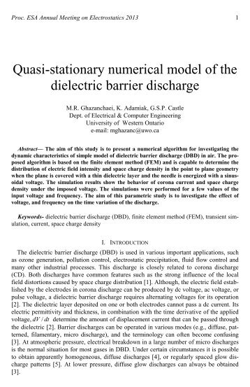 Quasi-stationary numerical model of the dielectric barrier discharge