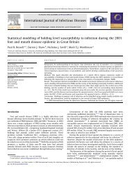 Statistical modeling of holding level susceptibility to infection during ...