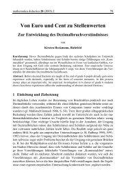 Von Euro und Cent zu Stellenwerten - mathematica didactica