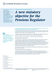 A new statutory objective for the Pensions Regulator - Freshfields