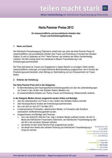 Herta Pammer Preise 2013