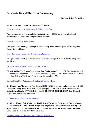 Download Der Groke Kampf The Great Controversy pdf ebooks by ...