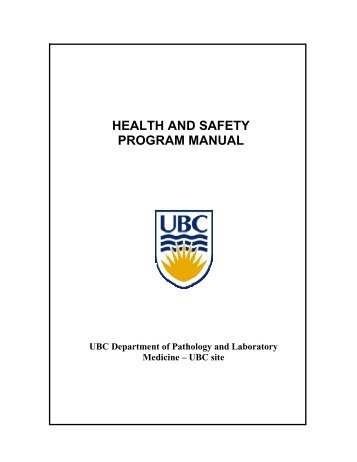 your health and safety program manual - Pathology and Laboratory