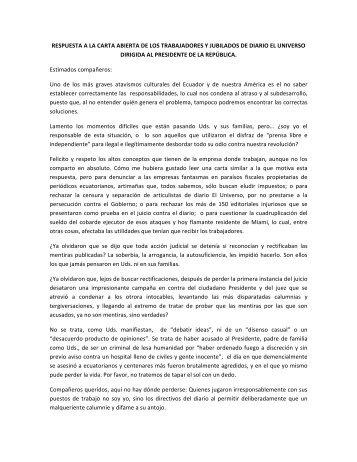 Carta del Presidente de la República Rafael Correa