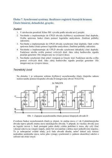 Úloha 7. Synchronní systémy. Realizace registrů řízených hranou ...