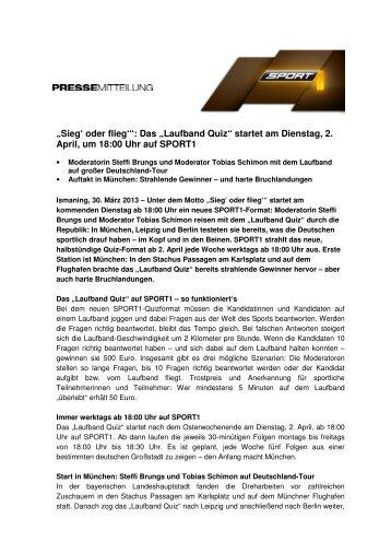 """""""Sieg' oder flieg'"""": Das """"Laufband Quiz"""" startet am Dienstag ... - Sport1"""