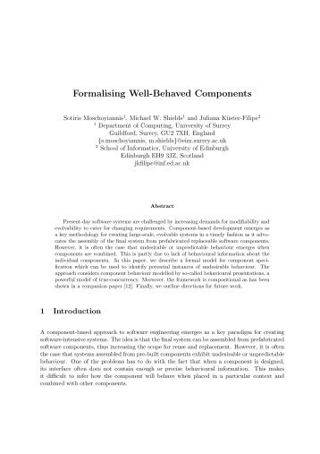 Formalising Well-Behaved Components - Department of Computing ...