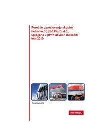 Poročilo o poslovanju v prvih devetih mesecih leta 2010 - Petrol