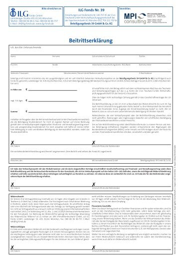 Beitrittserklärung - MPI Consulting GmbH