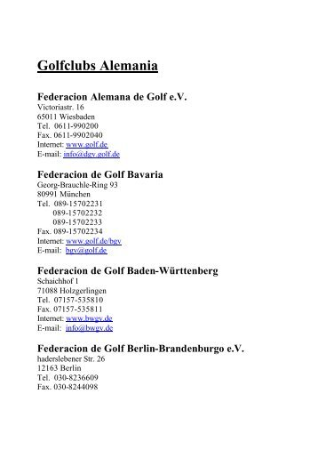 Golfclubs Alemania