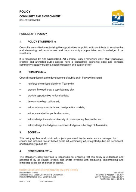 Public Art Policy - Townsville City Council - Queensland Government