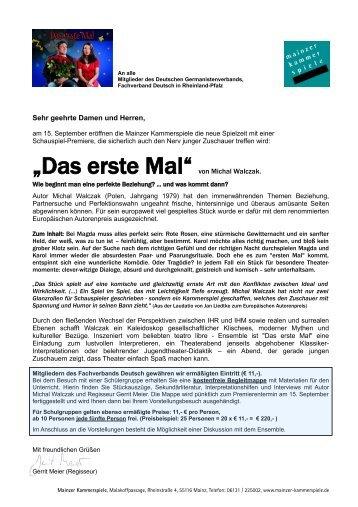 """""""Das erste Mal"""" von Michal Walczak. - Fachverband Deutsch"""