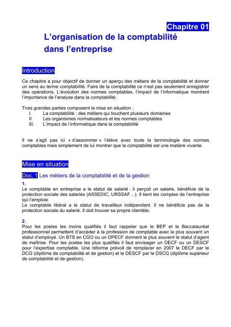 Chapitre 01 L'organisation de la comptabilité dans l'entreprise