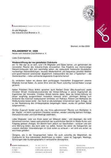 Rolandbrief 3'2009 - Industrie-Club-Bremen