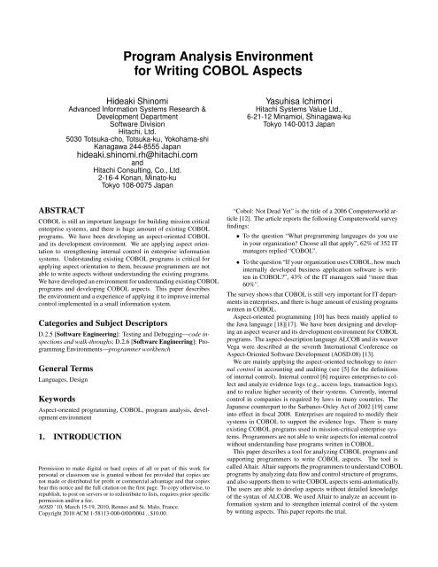 Program Analysis Environment for Writing COBOL Aspects